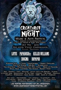 Creatures of the Night Music and Arts Festival in Adams TN, Oct 9-11