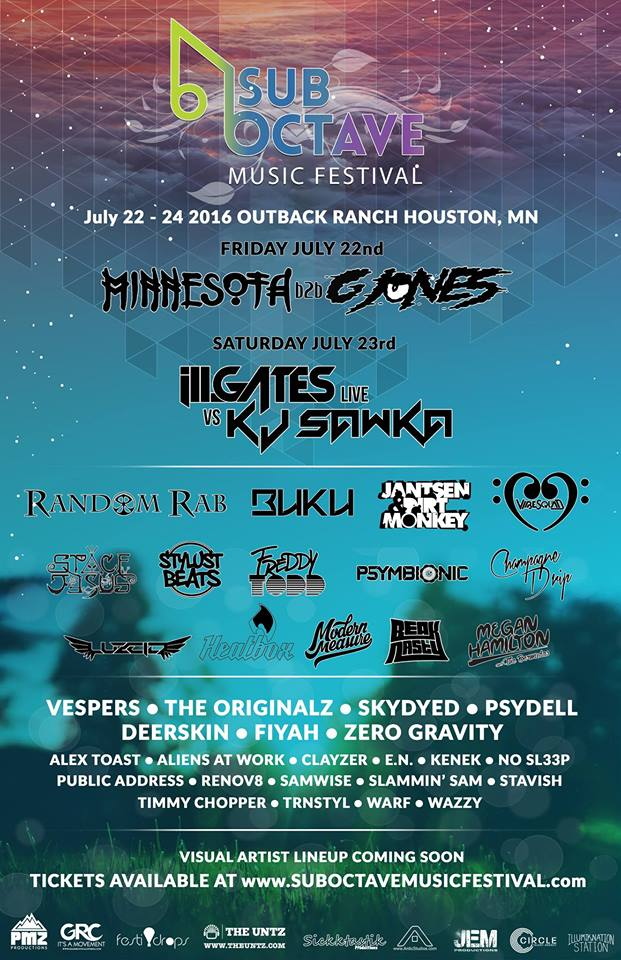 SubOctave Music and Camping Festival 2016, presented by PMZ Productions, July 22-24 @ Outback Ranch in Houston MN.