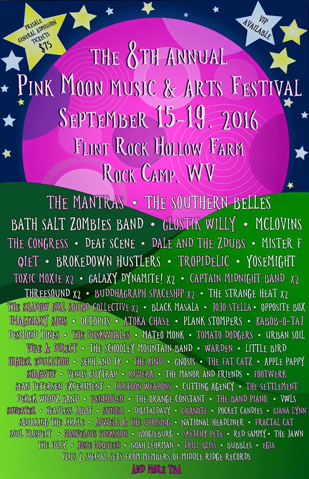 Pink Moon Music and Arts Festival 6: Sept 15-19 Flint Rock Hollow Farm, Rock Camp WV